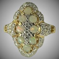 Outstanding Diamond and Opal Ring~14K~size 7.