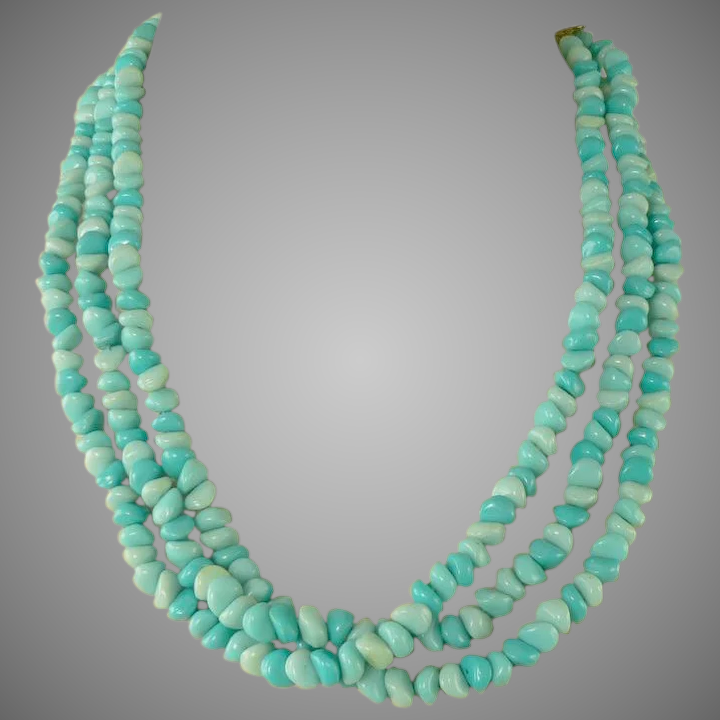 6897488ff31b3 Alice Caviness~Triple Strand Genuine Turquoise Necklace Earrings.