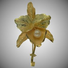 18k Iris Brooch-Freshwater Cultured Pearl.