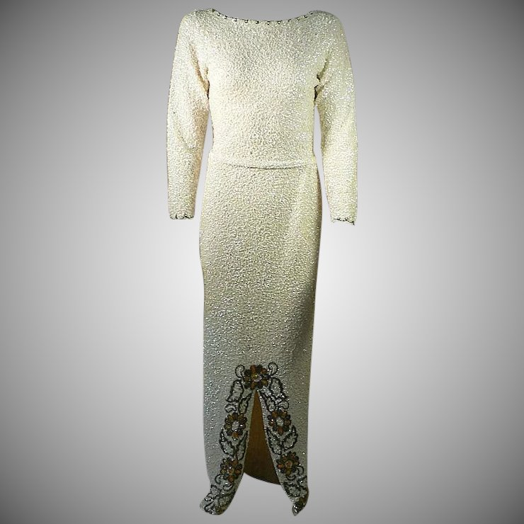 Hand Crafted 60\'s Sequins Crystal Beaded Evening Gown, Size 6/8 ...