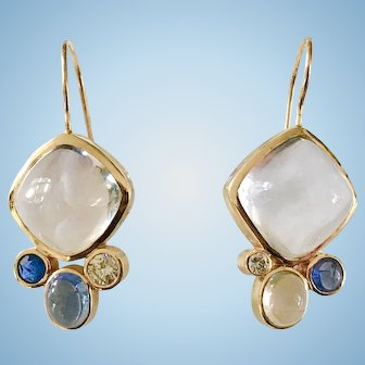 Vintage 14K Yellow Gold 10mm White Cushion Sapphire Earrings 9 Gr with Moonstone