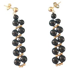 14K Yellow Gold and Onyx Bead Drop Pierced Earrings 7 to 5 mm, 2.2 Grams