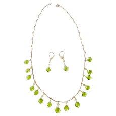 "Vintage 24K Gold & Green Peridot Pendant Necklace & Earring Set 16.7 grams 18"""