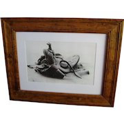 Vintage 1973 James E Bama Framed Art Ltd Ed Photograph Print Western Saddle