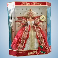 NRFB 1997 Mattel Barbie Doll Collector's Club Gold Seal Happy Holidays 17832