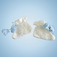 Vintage Antique German or French Bisque Doll Baby Booties Wool Crochet Knit