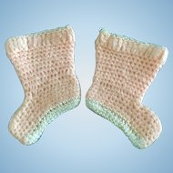 Vintage Antique German or French Bisque Doll Baby Booties Wool Silk Crochet Knit