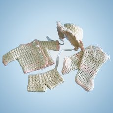 Vintage Antique German,French Bisque Doll Baby Clothes Booties Wool Crochet Knit