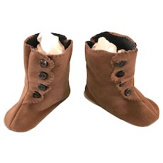 Vintage Doll Shoes Brown Boots for French or German Bisque