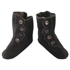 Vintage Doll Shoes Black Boots for French or German Bisque