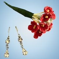 Vintage Orig. Madame Alexander Cissy Doll Jewelry Rhinestone Earrings & Flowers