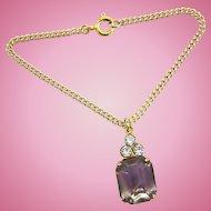 Vintage Doll Jewelry Necklace Amethyst Rhinestone Madame Alexander Cissy Revlon