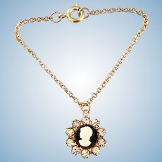 Vintage Original 1961 Madame Alexander Cissy & Elise Doll Jewelry Cameo & Rhinestone Necklace