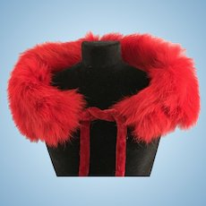 Vintage RED Genuine Fur Stole Madame Alexander Cissy Doll Miss Revlon Toni