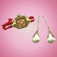 Vintage Doll Jewelry Wrist Watch,Rhinestone Jewelry Madame Alexander Cissy Toni
