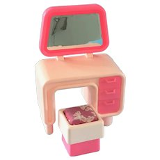 Vintage 1970s Mattel Barbie Doll Dream House Furniture Vanity Table & Chair