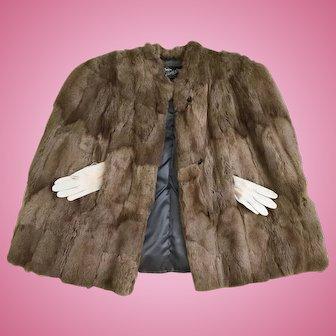 Vintage Women's 1940's Genuine Silver Fox Fur Coat Cape Joan Crawford Style!!!