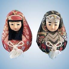 Vintage Japanese Gofun & Papier-Mache Roly Poly Hime-Daruma Wedding Doll Pair