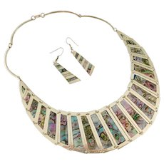 Vintage Mexican Alpaca Silver & Abalone Jewelry Set Necklace & Earrings 75 grams