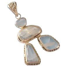 "Vintage ""925"" Sterling Silver & Stone Quartz BIG Pendant 14 grams gr"