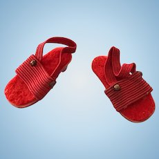 Vintage Original Madame Alexander Lissy Red Doll Shoes Wedge Heels