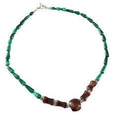 Vintage Malachite & Tiger's Eye Carved Stone Necklace 50 grams gr 20 in Long