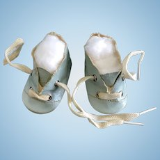 Vintage AQUA Oilcloth Doll Shoes Madame Alexander Dy-Dee Baby German Bisque