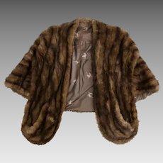 Vintage Womens 1940's Genuine Mink Fur Stole Wrap Coat with Pockets!