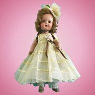 Vintage All Orig Nancy Composition Doll in Original Clothes: Dress, Slip, Shoes