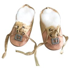 Antique Vintage Oilcloth Doll Shoes for French & German Bisque Composition
