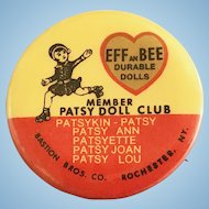 Vintage 1970's Effanbee Patsy Ann Family Doll Pinback Pin Back Button