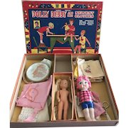 Vintage 1920s Transogram Gold Medal Sewing Kit Set Two Dolls Bisque, Composition