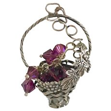 """Antique Sterling Silver & Amethyst """"Basket"""" Pendant for Necklace 9.5 Grams, 2 in"""
