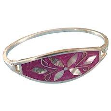 Vintage Mexican Alpaca Silver, MOP, Abalone Jewelry Bracelet Bangle 14 grams