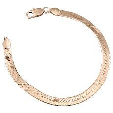 "Vintage Sterling Silver Serpentine Bracelet Chain 7"" Long 6.5 gr grams Italy BHB"