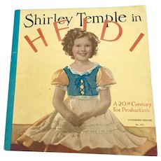 "Vintage 1937 Saalfield No. 1771 ""Shirley Temple in Heidi"" Book from the Movie"