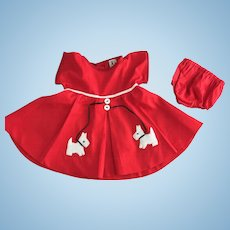 Scottie Dog Dress made for Vintage 27 inch Composition Shirley Temple Doll