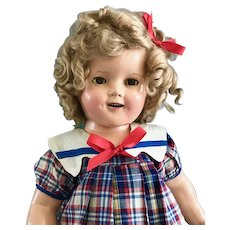 """1930s Vintage 18""""  Shirley Temple Composition Doll in Dress & Oilcloth Shoes"""