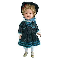 """Vintage 25"""" Flirty Eye Shirley Temple Composition Doll Lil Colonel Dress & Shoes"""