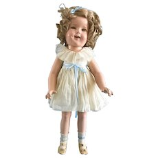 Vintage 27 inch Composition Flirty Eyes Ideal Shirley Temple Doll in Original Clothes with Dress, Oilcloth Shoes, Socks