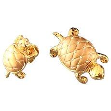Swarovski Crystal & Gold Turtle Scatter Pins or Brooch Pair