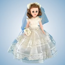 """Vintage All Original American Character 14"""" Toni Bride Doll in Clothes: Gown, Shoes"""