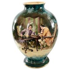 Antique 19th Century Royal Bonn Porcelain Vase 14 in. Germany Meissonier Painted