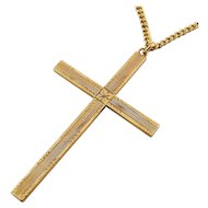 """10K Yellow Gold Engraved 2"""" Cross Pendant, 24"""" Gold-Filled Necklace"""