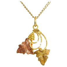 10K Yellow & Rose Black Hills Gold Grapes & Leaves Pendant,  G.F. Necklace Chain