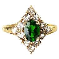 10K Gold Emerald & White Spinel Diamond Shaped Ring, Sz. 6 1/2, 3.3 Grams