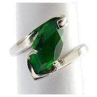 10K White Gold Faux Emerald Marquise Solitaire Ring, 3 Grams