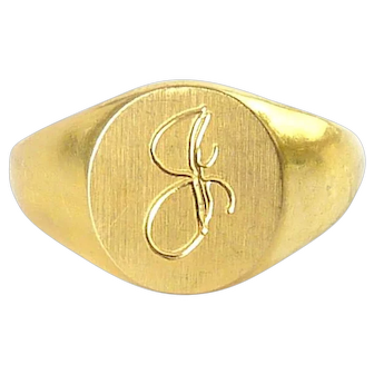 Vintage 10K Gold Filled Signet Ring, Letter J Monogram