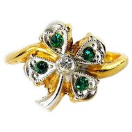Vintage 10K Yellow & White Gold Shamrock Ring with Hearts, Rhinestones, Lucky Clover