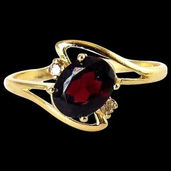 10K Yellow Gold Garnet Solitaire & Diamond Ring, Sz. 9